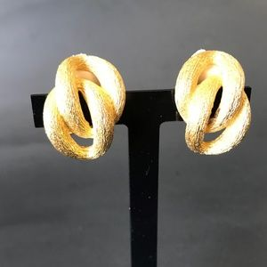 Christian Dior Textured Gold Tone Clip-On Earrings